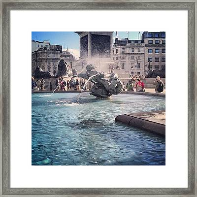 #london #piccadelly #water #uk Framed Print