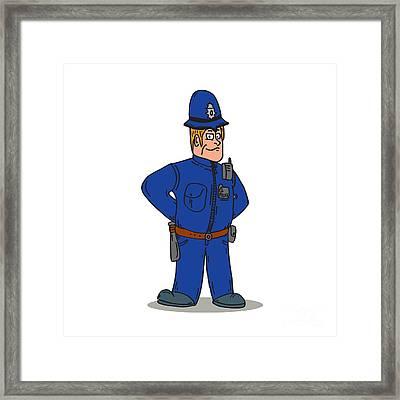 London Policeman Police Officer Cartoon Framed Print
