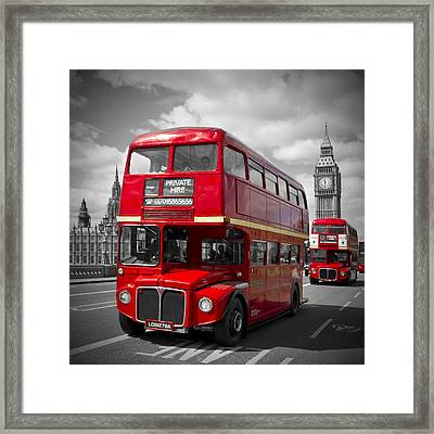 London Red Buses On Westminster Bridge Framed Print by Melanie Viola