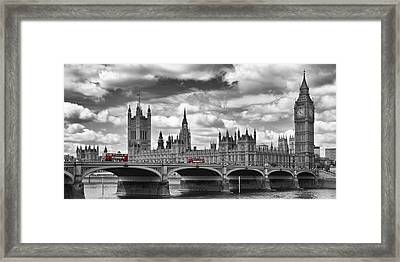 London River Thames And Red Buses On Westminster Bridge Framed Print by Melanie Viola