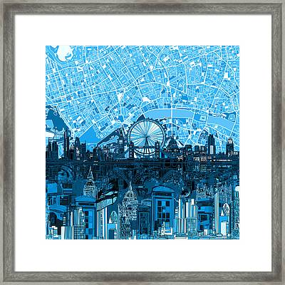 London Skyline Abstract Blue Framed Print