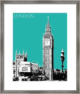London Skyline Big Ben - Teal Framed Print by DB Artist