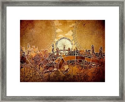 London Skyline Old Vintage  Framed Print