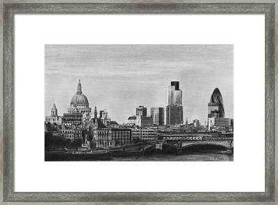 London Skyline Pencil Drawing Framed Print