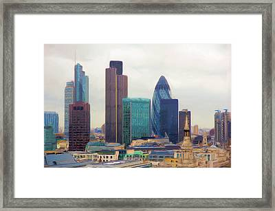 Framed Print featuring the digital art London Skyline by Ron Harpham