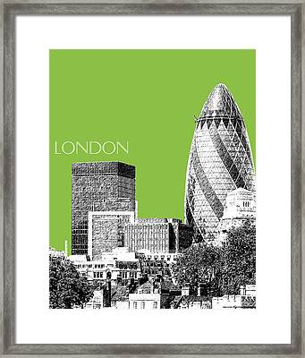 London Skyline The Gherkin Building - Olive Framed Print