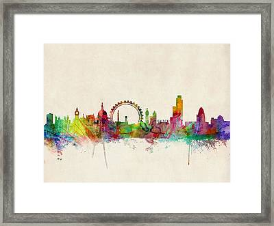 London Skyline Watercolour Framed Print by Michael Tompsett