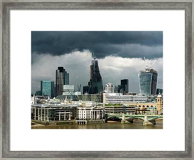 London Skyscraper Construction Framed Print by Daniel Sambraus