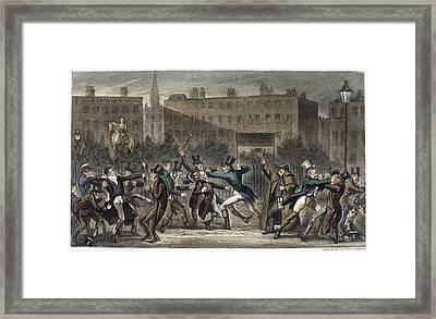 London Street Brawl, 1821 Framed Print by Granger