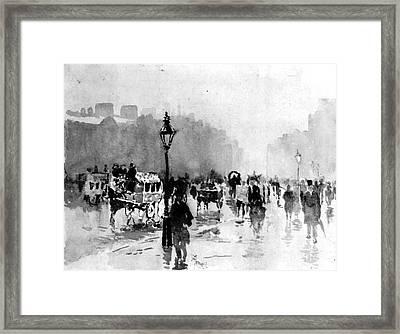 London Street Scene 1885 Framed Print by Padre Art