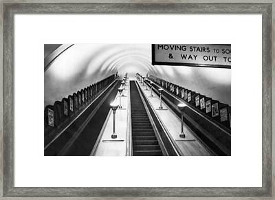 London Subway Escalators Framed Print by Underwood Archives