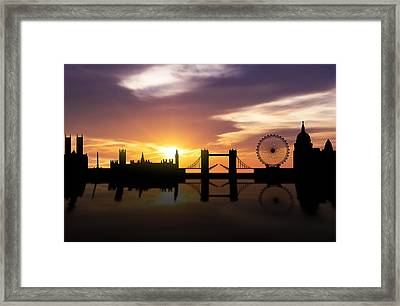 London Sunset Skyline  Framed Print by Aged Pixel