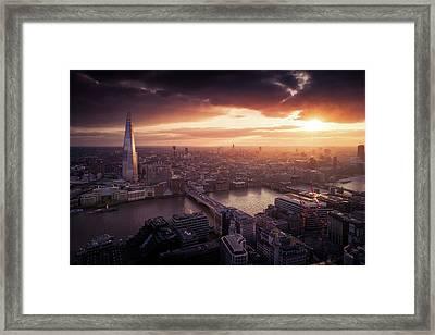 London Sunset View Framed Print by Dennis Fischer Photography