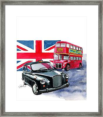London Taxi And London Bus Framed Print