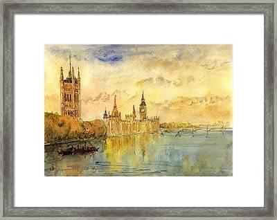 London Thames River Framed Print by Juan  Bosco