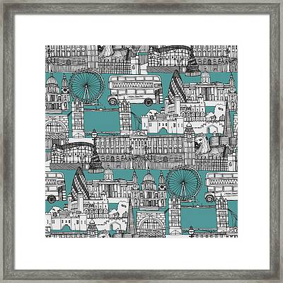 London Toile Blue Framed Print by Sharon Turner