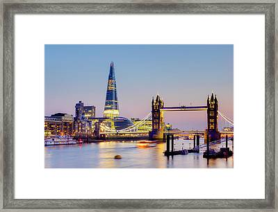 London, Tower Bridge, The Shard And Framed Print by Alan Copson