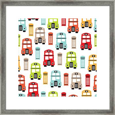 London Uk Double Decker Icon Of The Road Framed Print