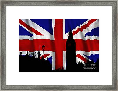 London Union Jack Montage Framed Print by Tim Gainey