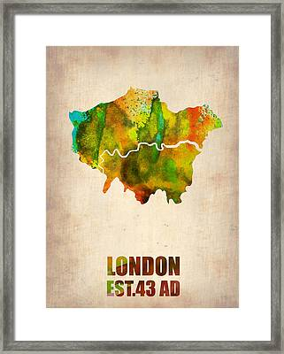 London Watercolor Map 1 Framed Print by Naxart Studio