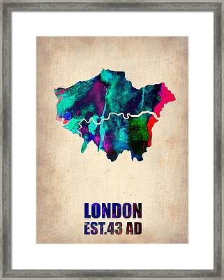 London Watercolor Map 2 Framed Print by Naxart Studio