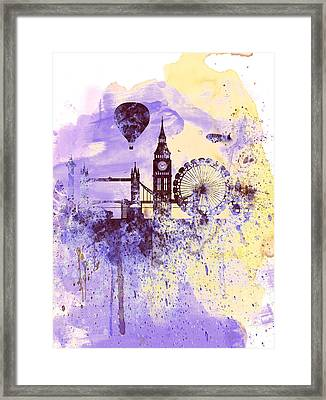 London Watercolor Skyline Framed Print by Naxart Studio
