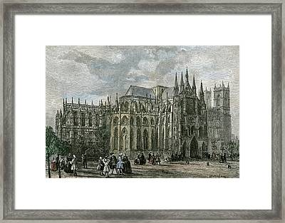 London Westminster Abbey 19th Century Church Street Framed Print by English School
