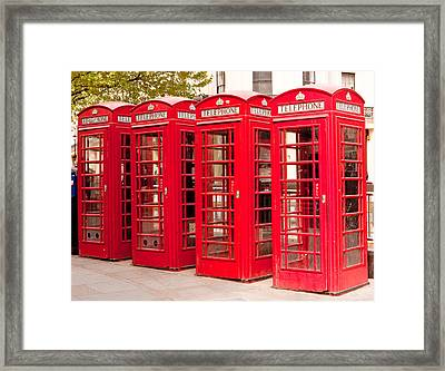 London's Red Phone Boxes Framed Print
