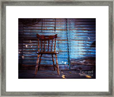Lone Barn Chair Framed Print by Sonja Quintero