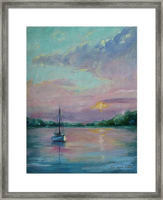 Lone Boat At Sunset Framed Print by Sarah Parks