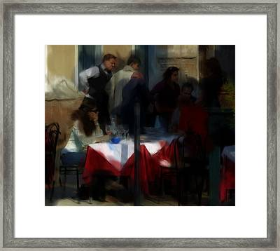 Framed Print featuring the digital art Lone Diner by Ron Harpham