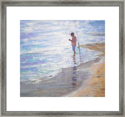 Lone Fisherman Framed Print by Jackie Simmonds