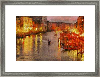 Framed Print featuring the painting Lone Gondolier At Night by Kai Saarto