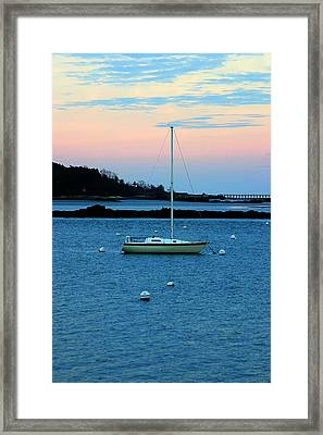 Lone Sailboat At York Maine Framed Print