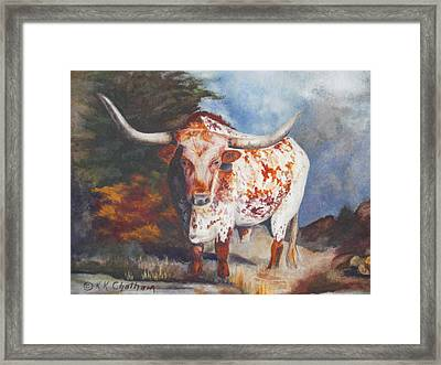 Framed Print featuring the painting Lone Star Longhorn by Karen Kennedy Chatham