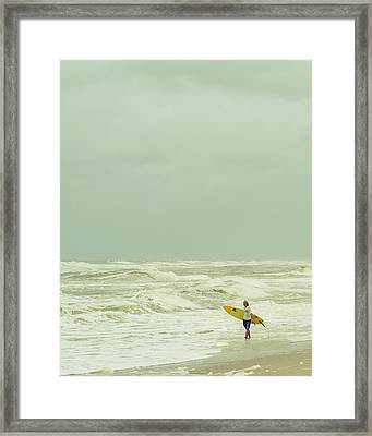 Lone Surfer Framed Print by Laura Fasulo