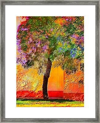 Lone Tree Against Orange Wall - Vertical Framed Print