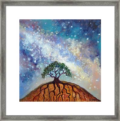 Lone Tree And Milky Way Framed Print by Cedar Lee