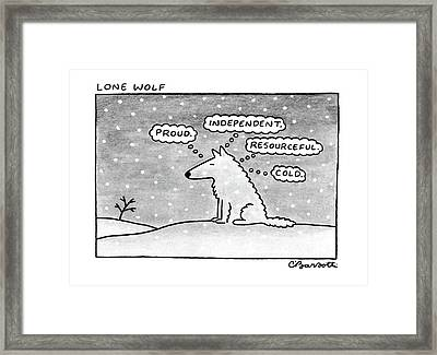 Lone Wolf: Framed Print by Charles Barsotti