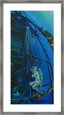 Lonely Angel Of The Deep Framed Print by Ottilia Zakany