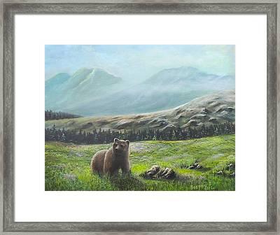 Framed Print featuring the painting Lonely Bear by Bozena Zajaczkowska