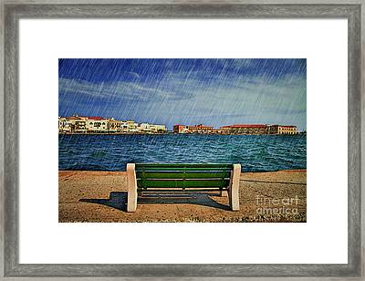 Lonely Bench In Rain Framed Print