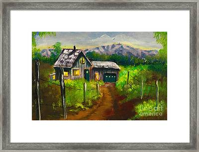 Lonely Cabin Framed Print by Donna Chaasadah
