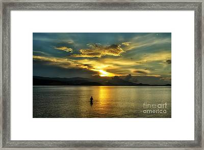 Lonely Fisherman Framed Print