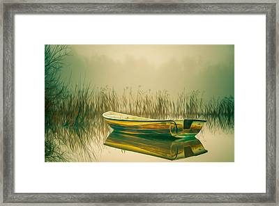 Lonely Fishing Boat On The Lakeside Framed Print