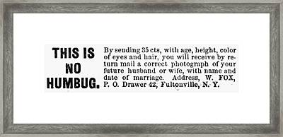 Lonely Hearts Ad, 1876 Framed Print by Granger