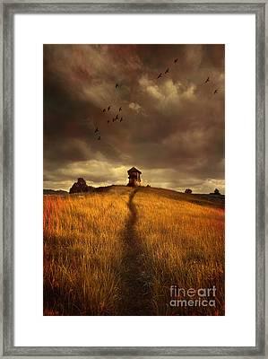 Lonely House On The Hill Framed Print by Jaroslaw Blaminsky
