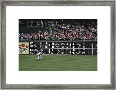 Lonely In Center Field Framed Print by Dave Hall