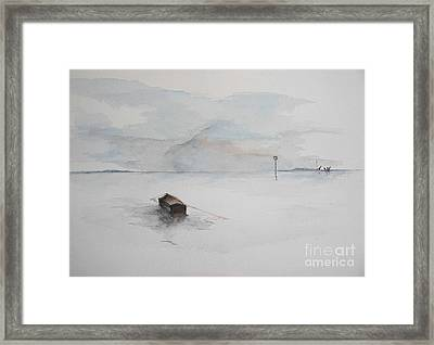 Framed Print featuring the painting Lonely Mooring by Sibby S