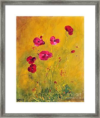 Lonely Poppies Framed Print by Teresa Wegrzyn